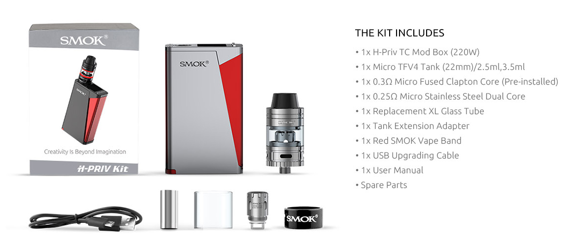 smok hpriv kit package contents