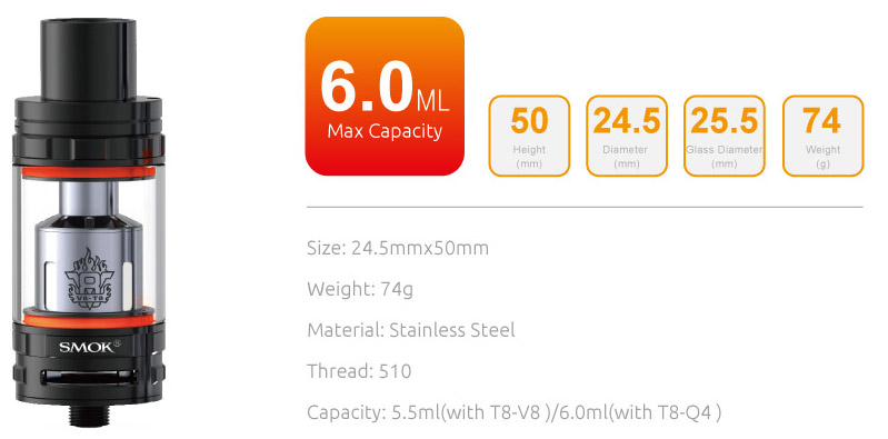 smok tfv8 tank specifications