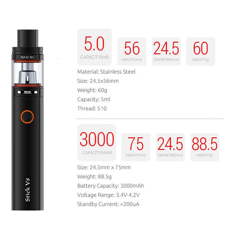 Vape Pen Style Smoktech Stick V8 Starter Kit With Cheap Price